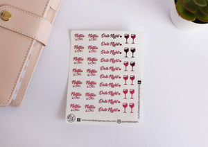 E&L Designs Date Night Clear Foil Planner Sticker Sheet