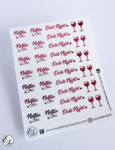 Load image into Gallery viewer, E&L Designs Date Night Clear Foil Planner Sticker Sheet