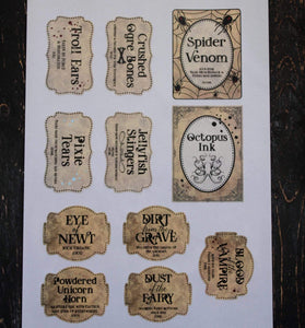 E&L Designs DIY Spooky Halloween Jar Labels - Set of 11 Stickers - Printed or Download