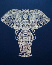 Load image into Gallery viewer, E&L Designs Elephant Mandala Artwork Print, A4, Made with Real Foil, Zentangle Tribal Bohemian Artwork, Elephant Art, Elephant Love, Adult Colouring Art