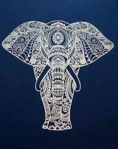 E&L Designs Elephant Mandala Artwork Print, A4, Made with Real Foil, Zentangle Tribal Bohemian Artwork, Elephant Art, Elephant Love, Adult Colouring Art