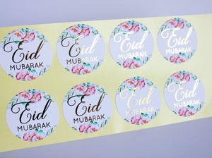E&L Designs Floral Eid Mubarak Stickers Foiled Coloured Stickers