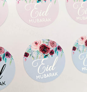 E&L Designs Floral Pastel Eid Mubarak Stickers Foiled Coloured Stickers