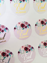 Load image into Gallery viewer, E&L Designs Floral Pastel Eid Mubarak Stickers Foiled Coloured Stickers