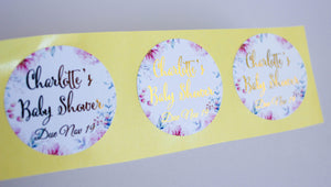E&L Designs Floral Thank You Baby Shower Foiled Stickers