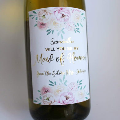 E&L Designs Floral Will You Be My Maid of Honour, Bridesmaid Wine Label