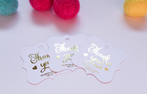 E&L Designs Foiled Artisan Shaped Thank You Gift Tags - Pack of 20
