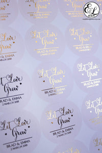 E&L Designs Foiled Coloured Wedding Favour Stickers