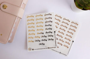 E&L Designs Good, Bad, Ok Days Clear Foil Planner Sticker Sheet