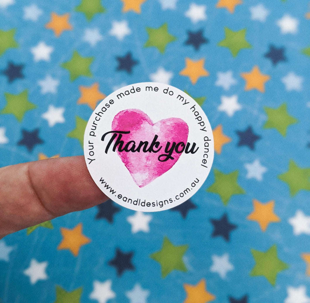 E&L Designs Happy Dance Thank You Stickers