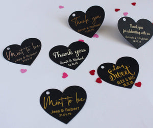 E&L Designs Heart Shaped Thank You Gift Tags - Black with Foil