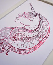 Load image into Gallery viewer, E&L Designs Hot Pink Unicorn Zentangle foil Artwork
