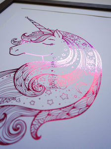 E&L Designs Hot Pink Unicorn Zentangle foil Artwork