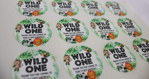E&L Designs Jungle Safari Animal Wild One Personalised Stickers