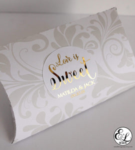 E&L Designs Love is Sweet Wedding Foiled Stickers