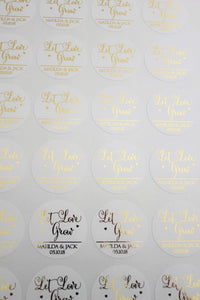 E&L Designs Matte White Foiled Wedding Stickers