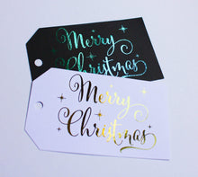 Load image into Gallery viewer, E&L Designs Merry Christmas Foil Tags, Pk of 9, Black or White Cardstock