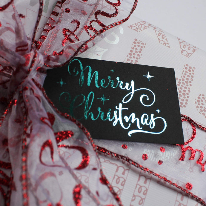 E&L Designs Merry Christmas Foil Tags, Pk of 9, Black or White Cardstock