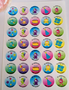 E&L Designs Personalised Happy Birthday Teacher Stickers - Set of 35 Stickers