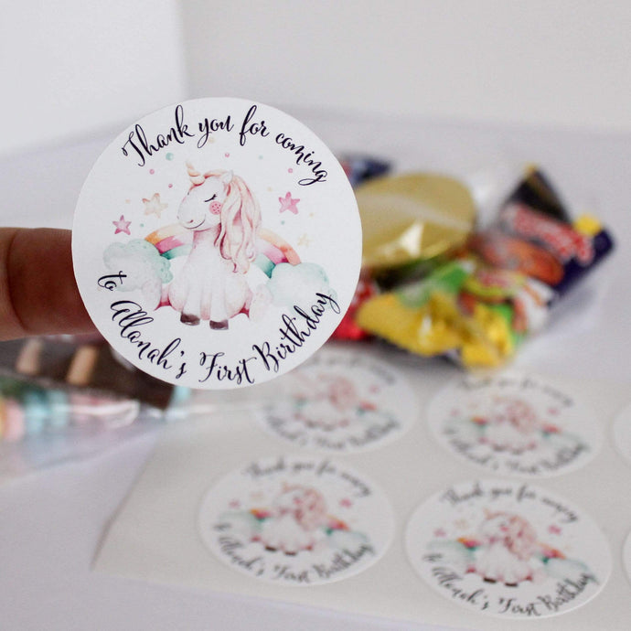 E&L Designs Personalised Rainbow Unicorn Stickers - Rainbow Unicorn Theme