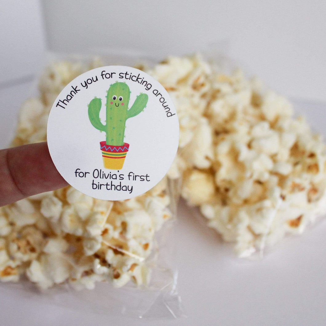 E&L Designs Personalised Thanks For Sticking Around Cactus Stickers - Mexican, Cactus Theme