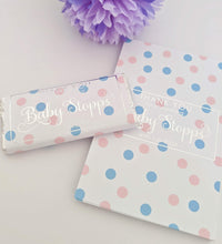 Load image into Gallery viewer, E&L Designs Pink Blue Polka Dots Baby Shower Chocolate Wrappers x 10