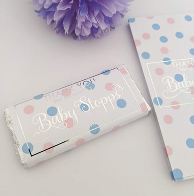 E&L Designs Pink Blue Polka Dots Baby Shower Chocolate Wrappers x 10