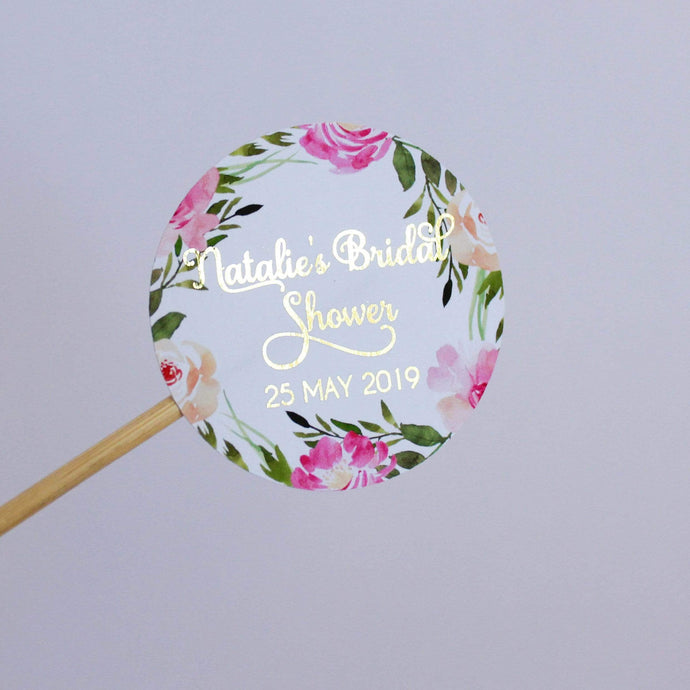 E&L Designs Pink Flowers Green Leaves Bridal Shower Foiled Stickers