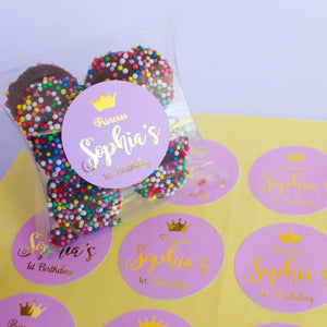 E&L Designs Pink Princess Personalised Foil Stickers