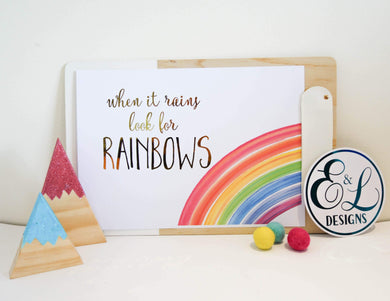 E&L Designs Rainbow A4 Wall Art with real foil