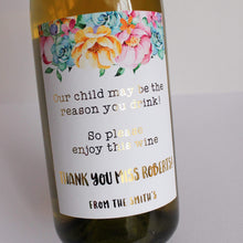 Load image into Gallery viewer, E&L Designs Teacher Appreciation Wine Bottle Foil Labels, Teacher Gift
