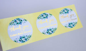 E&L Designs Thank You Baby Shower Foiled Stickers