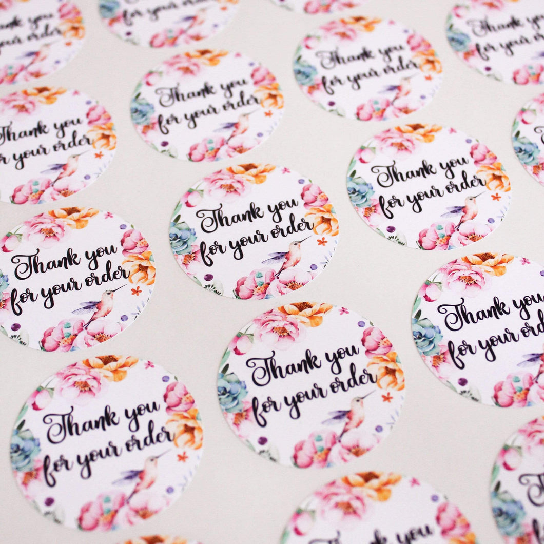 E&L Designs Thank You For Your Order Stickers for Business - Pack of 24