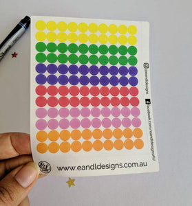 E&L Designs Transparent Colour Planner Dots Sticker Sheet