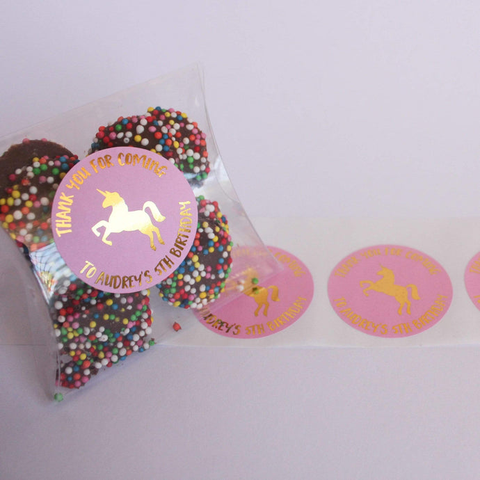 E&L Designs Unicorn Personalised Foil Stickers - Unicorn Theme