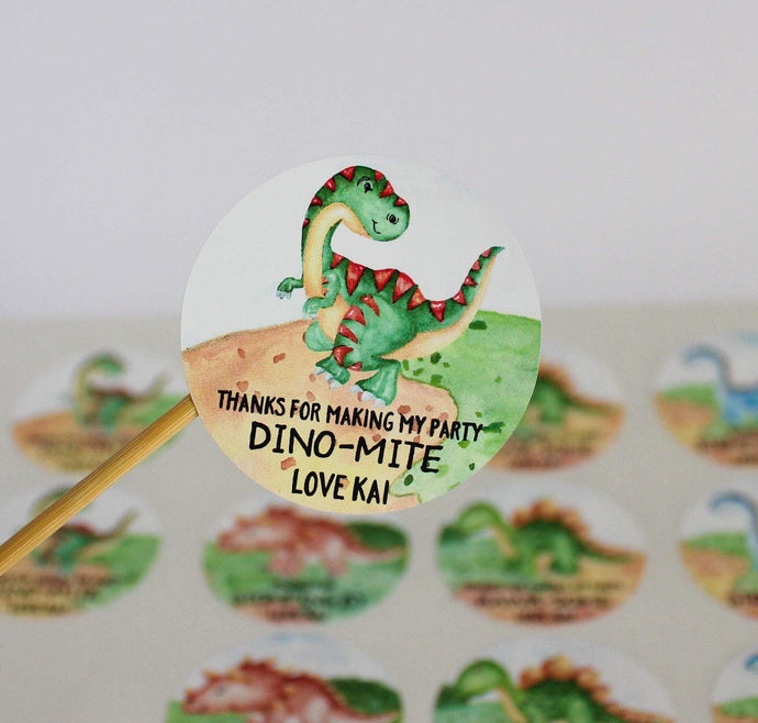 E&L Designs Watercolour Dinosaur Birthday Theme Stickers - Dinosaur Theme