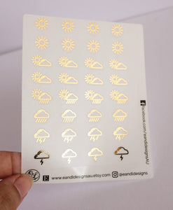 E&L Designs Weather Icons Clear Foil Planner Sticker Sheet