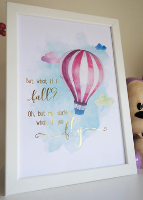 E&L Designs What If You Fly A4 Print with real foil - Watercolour Hot Air Balloon