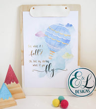 Load image into Gallery viewer, E&L Designs What If You Fly A4 Print with real foil - Watercolour Hot Air Balloon