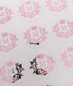 E&L Designs White Foil Monogram Flourish Stickers
