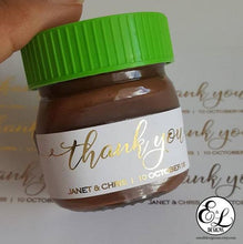 Load image into Gallery viewer, E&L Designs White Mini Nutella Jar Stickers with Foil - 30 Stickers