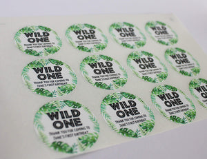 E&L Designs Wild One with Leaves Personalised Sticker