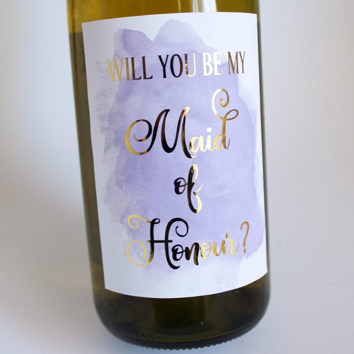 E&L Designs Will You Be My Bridesmaid, Maid of Honour Wine Label