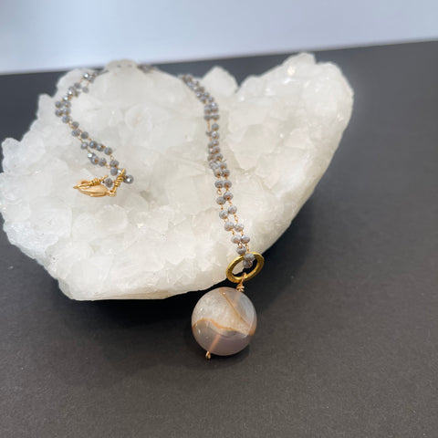 #1  Small Agate Druzy Quartz Necklace