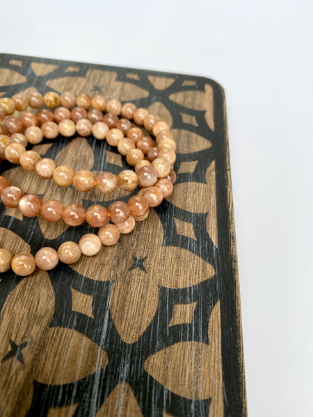 Peach Moonstone Stretch Bracelet