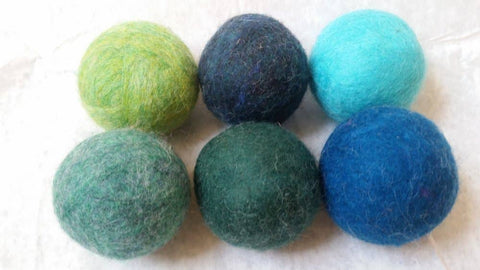 Bog Berry Dryer Balls - Trees and Seas - Set of 6 Wool Dryer Balls zero waste