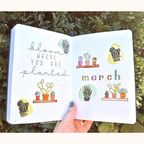 Journal open showing March cover page with cactus theme