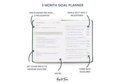 3 month goal planner page of Power of 3 undated goal planner