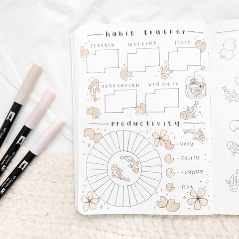 Habit tracker and productivity tracker spread in an open journal with fish theme