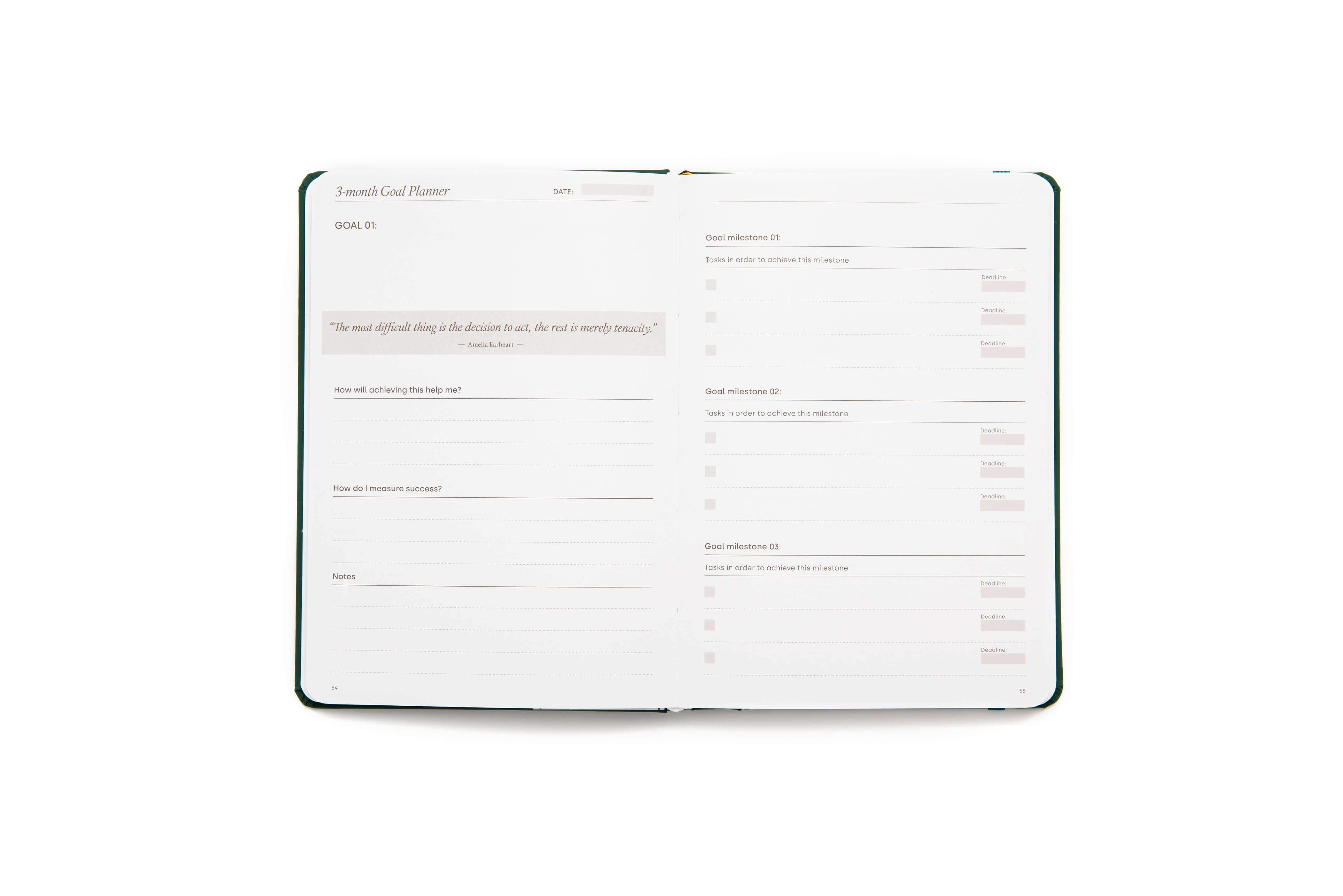 Power of 3 goal planner open on 3 month goal planner page
